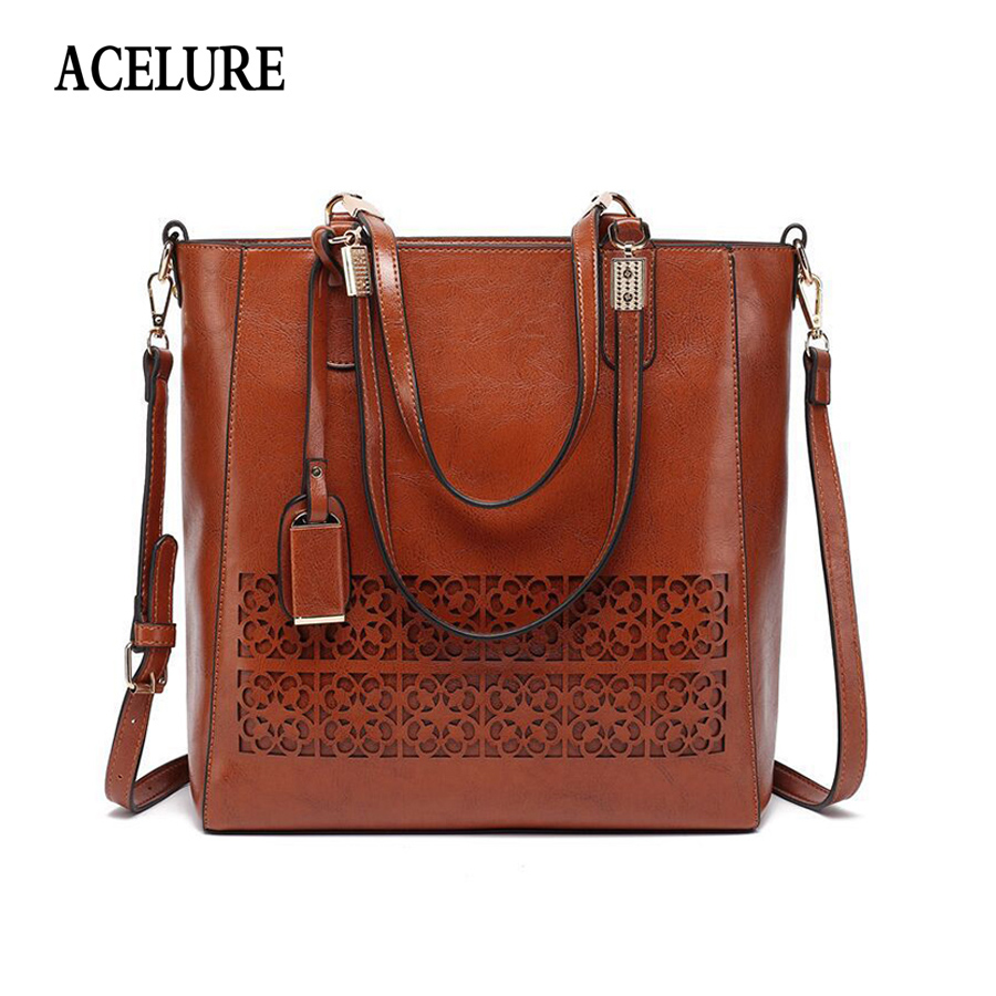 ACELURE Brand Women's Shoulder Bag Female PU Leather Handbag Women Bags Designer High Quality Hollow Out Large Capacity Tote Bag кукла yako кукла m6579 2