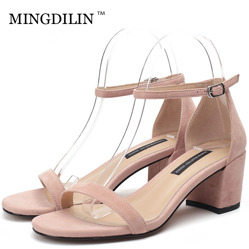 MINGDILIN Summer Women's High Heels Sandals Sexy Woman Shoes Genuine Leather Women's Open Toe Heels Sandals Zapatos Mujer 2018 цена 2017
