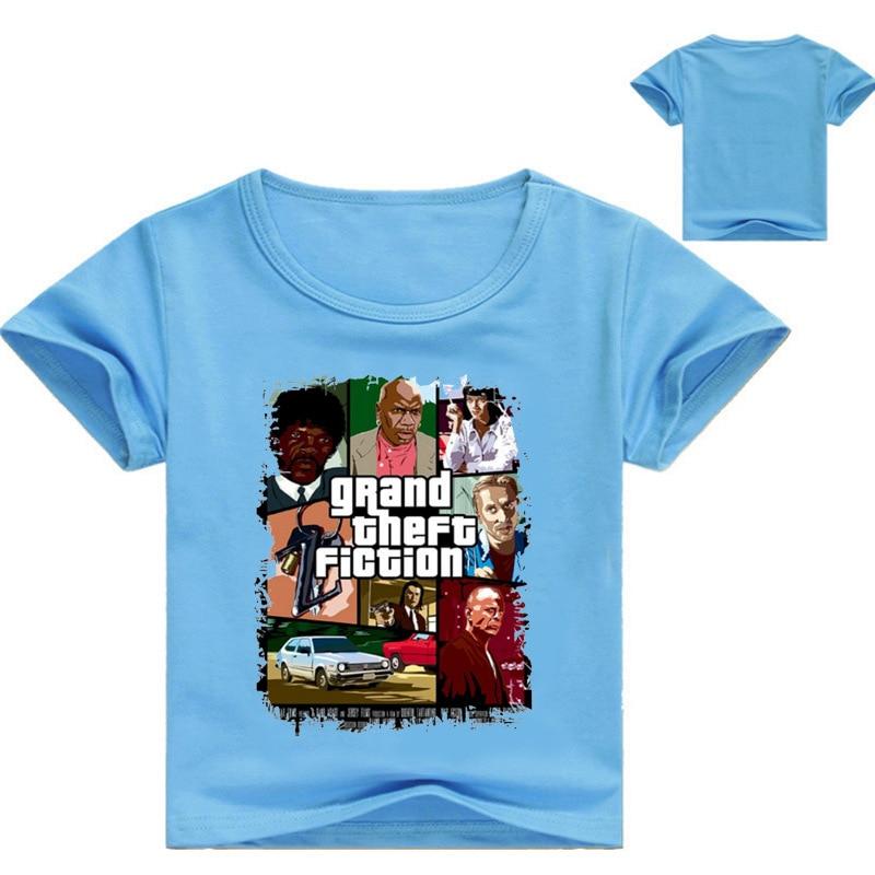 Z&Y 3-16Years Bobo Choses 2017 Girls Tops Menino Short Sleeves Shirt Gta Gta Kids Clothes Boys Grand Theft Auto 5 Fashion N7256