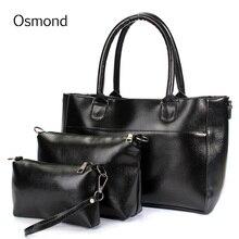 Osmond Fashion Luxury PU Leather Handbag Set Women Casual Tote Handbag Shoulder Bag Purses Wallets Bag