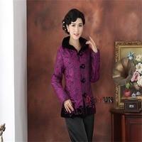 Descuento púrpura China tradición de manga larga wadded chaqueta de mediana edad Bordado Tang traje outerwearm L XL XXL 3xl 4xl
