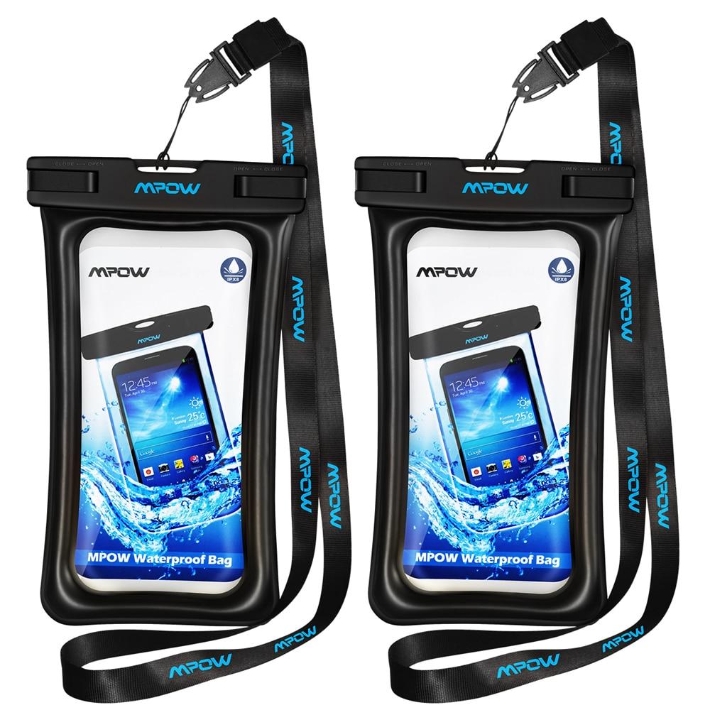 imágenes para Mpow 2 UNIDS Original Caso IPX8 Impermeable Bolsa Del Teléfono Del Bolso Seco Flotante Cubierta transparente para el iphone 7 Plus/Huawei P9 etc 5.7 pulgadas
