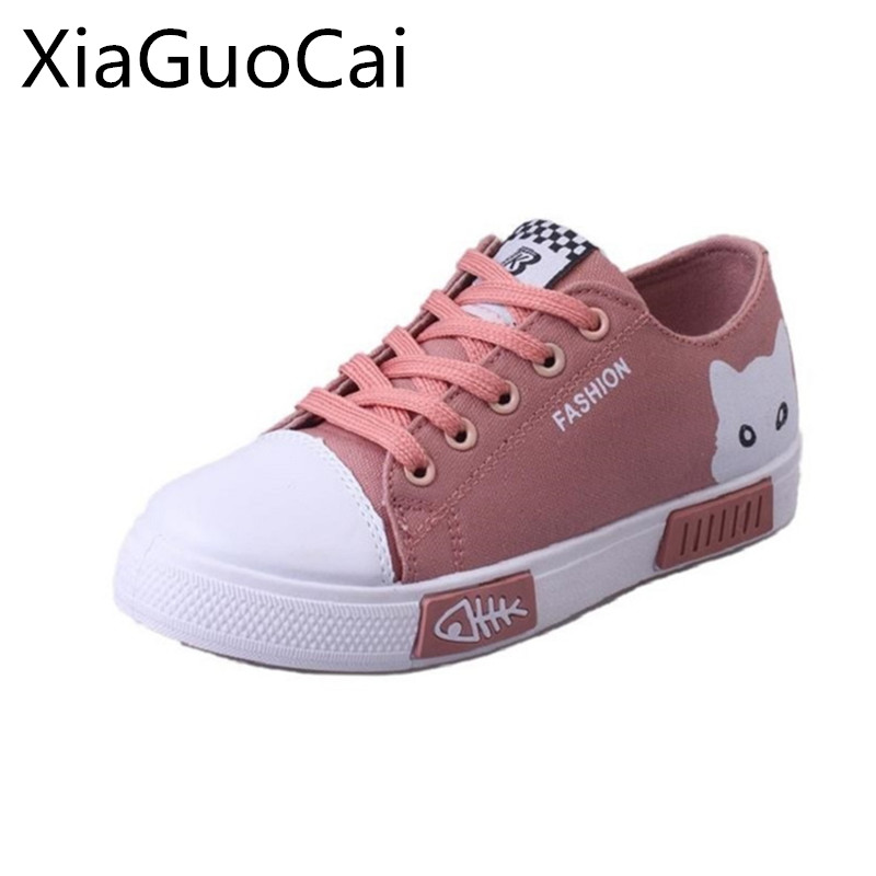 Cute Animal Women Casual Shoes Spring Flat Canvas Shoes for Female Lace-up Light Cat Print Flats Ladies Leisure Footwear instantarts women flats emoji face smile pattern summer air mesh beach flat shoes for youth girls mujer casual light sneakers