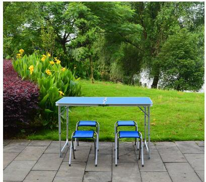 Outdoor folding tables and chairs set double reinforcement folding table Aluminum Alloy stall folding table