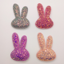 5pcs/Lot 6.2x4.2cm Shiny Rabbit Head Padded Applique Crafts for scrapbooking girls hair accessories bows
