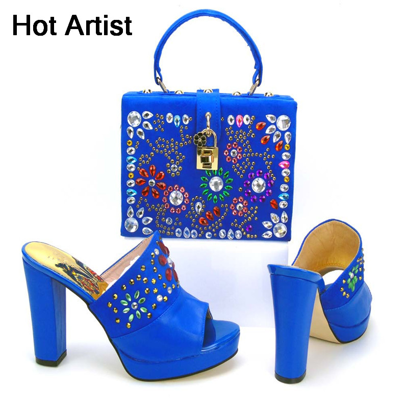 Hot Artist High Quality Woman PU Leather Shoes And HandBag Set Italian Style High Heels Shoes And Bag Set For Party Wholesale