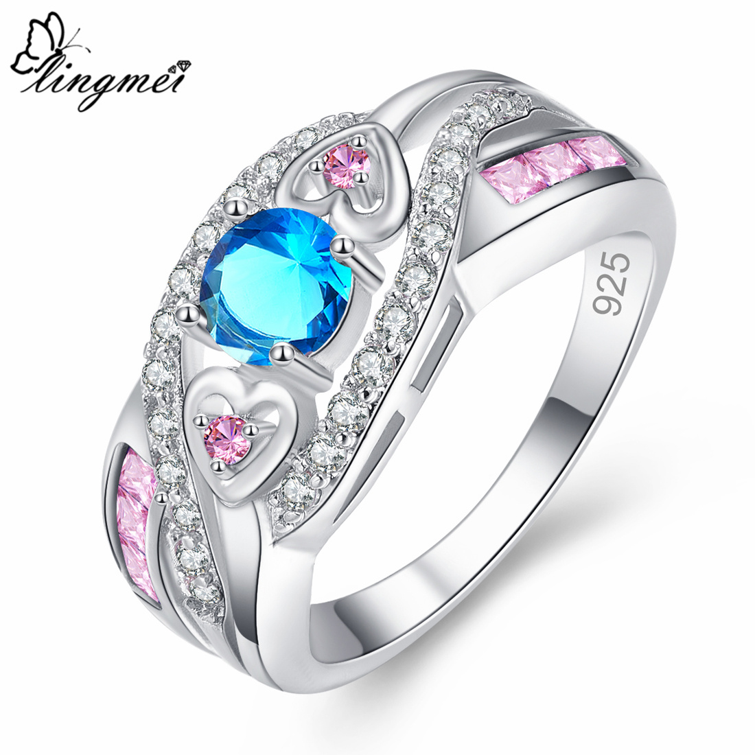 lingmei Dropshipping Fashion Women Wedding Jewelry Oval Heart Design Multicolor & Purple White CZ Silver 925 Ring Size 6 7 8 9 1