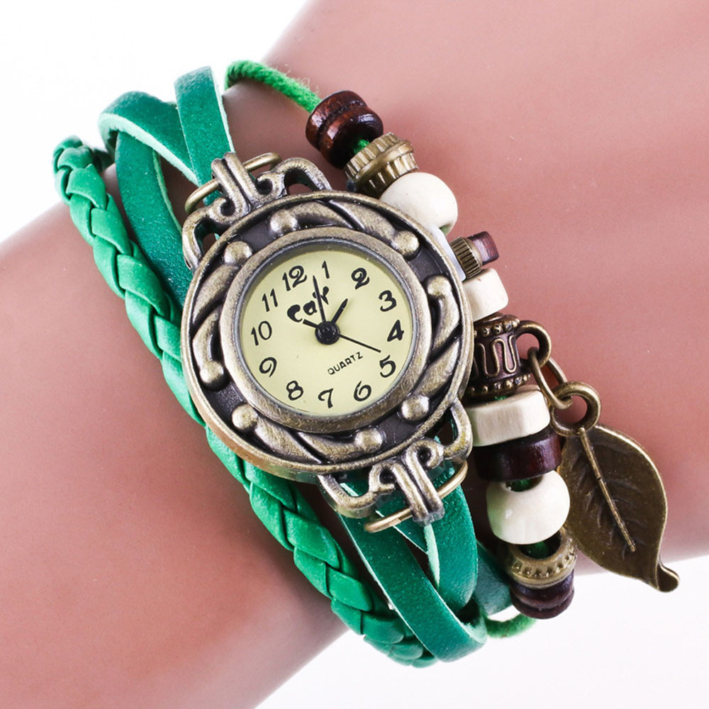 Wristwatches Brown Retro Weave Wrap Lady Bead Leaf Dangle Bracelet Bangle Quartz Wrist Watch Women Watche Quartz Watche Reloj