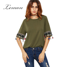 Lemon New Fashion Solid Green Women Tops Vintage Crew Neck Contrast T-shirt Casual Basic Loose Streetwear Tee