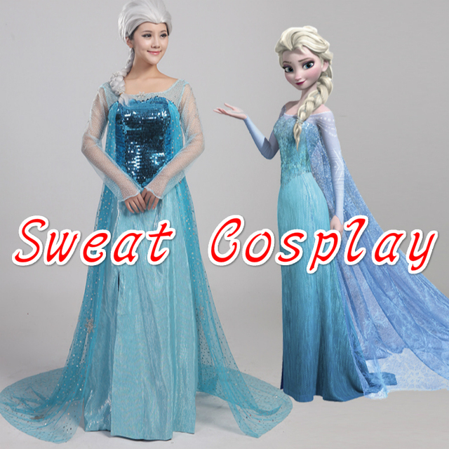 5154b69cee63d High Quality Snow Queen Elsa Cosplay Costume fancy Dress adult princess  Elsa dress cloak Carnival Halloween costumes for women