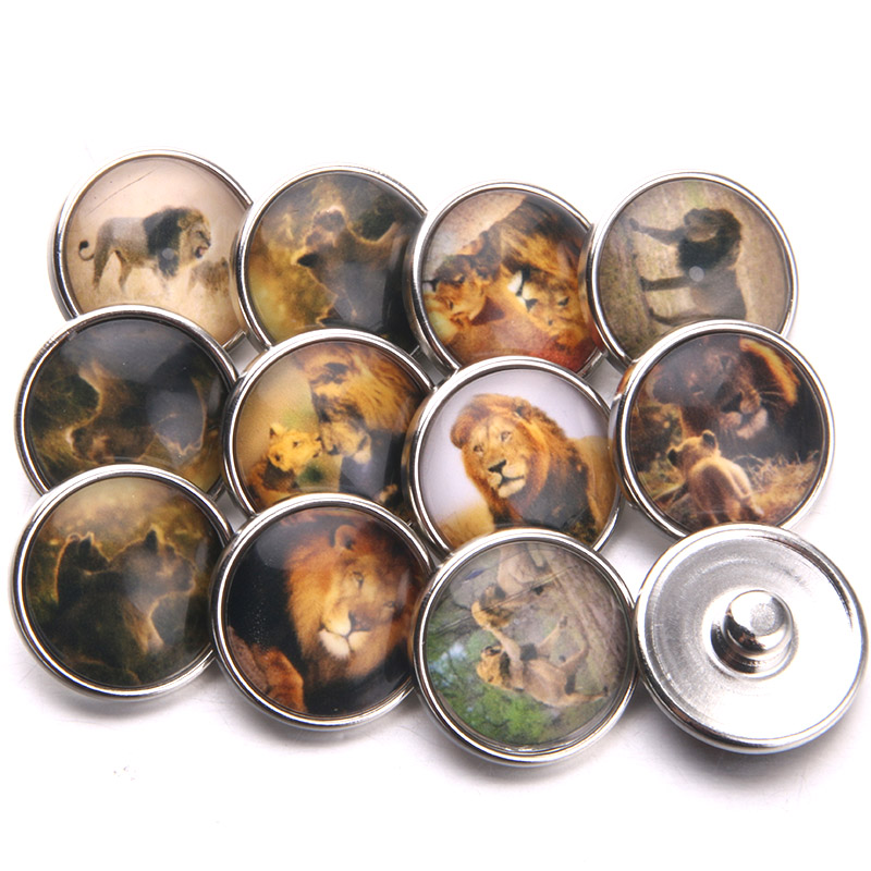 10 pieces/lot African fierce animal glass snap button 18mm jewelry glass buckle female bracelet jewelry jewelry C0-4 image