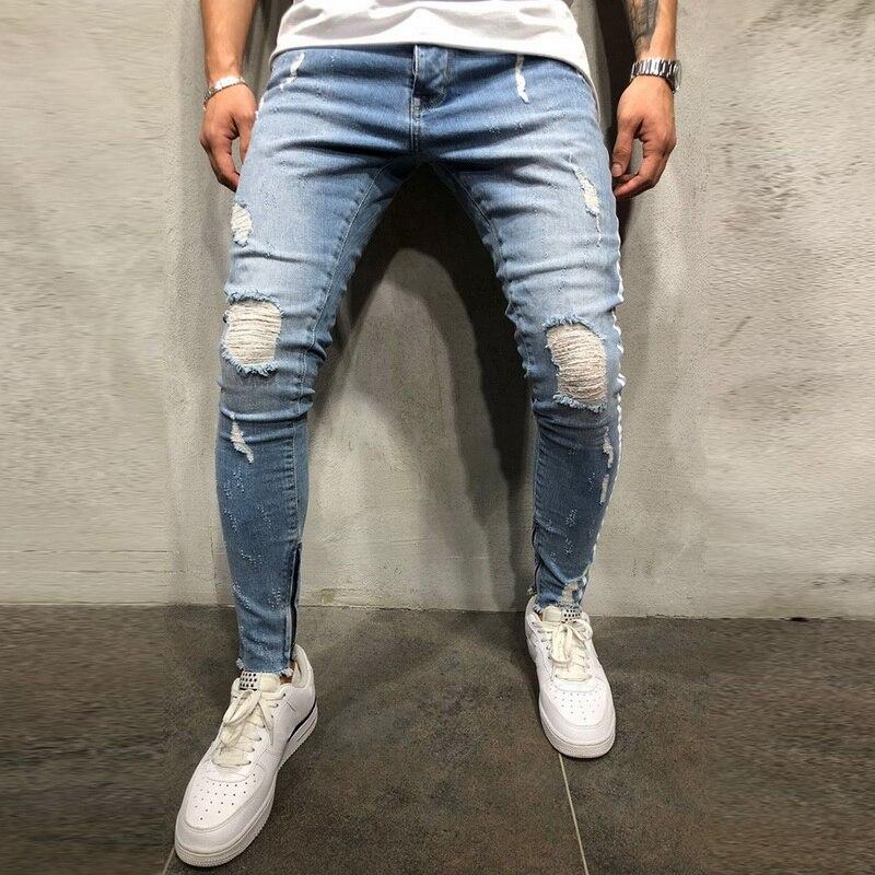 MJARTORIA 2019 Men Knee Holed Spandex Casual Skinny Striped Street Style Side Stripe Slim Fit Fashion Full Length Soild   jeans