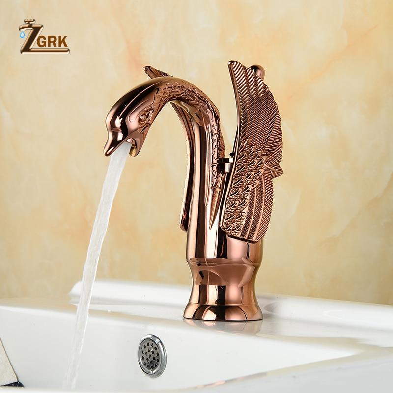 ZGRK смесители для умывальника, новый дизайн, кран с лебедем, позолоченный, кран для умывальника, роскошный, медный, Золотой смеситель, краны г...