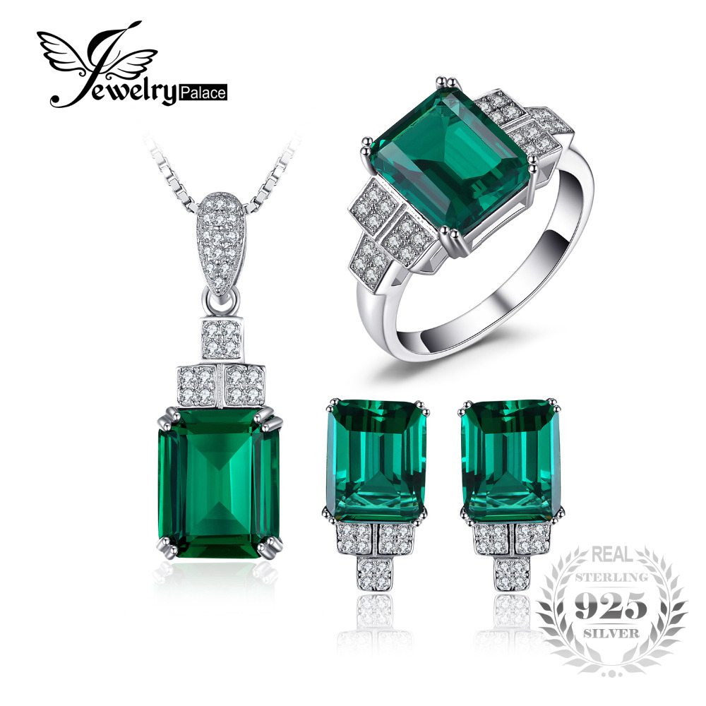 JewelryPalace Created Emerald Jewelry Set 925 Sterling Silver Ring Necklace Pendant Earring Clip Women Bridal Jewelry Set jewelrypalace princess diana jewelry engagement wedding created emerald jewelry 925 sterling silver ring pendant earring