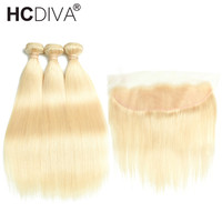HCDIVA 613 Blonde Peruvian Straight Human Hair 3 Bundles With Lace Frontal Closure Pre plucked Hairline with Baby Hair Non Remy