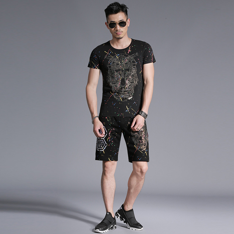 European Style Creative Skull 3D Printing Fashion T Shirt And Shorts Set Summer 2018 New High-quality Cotton Tracksuit Men M-4XL