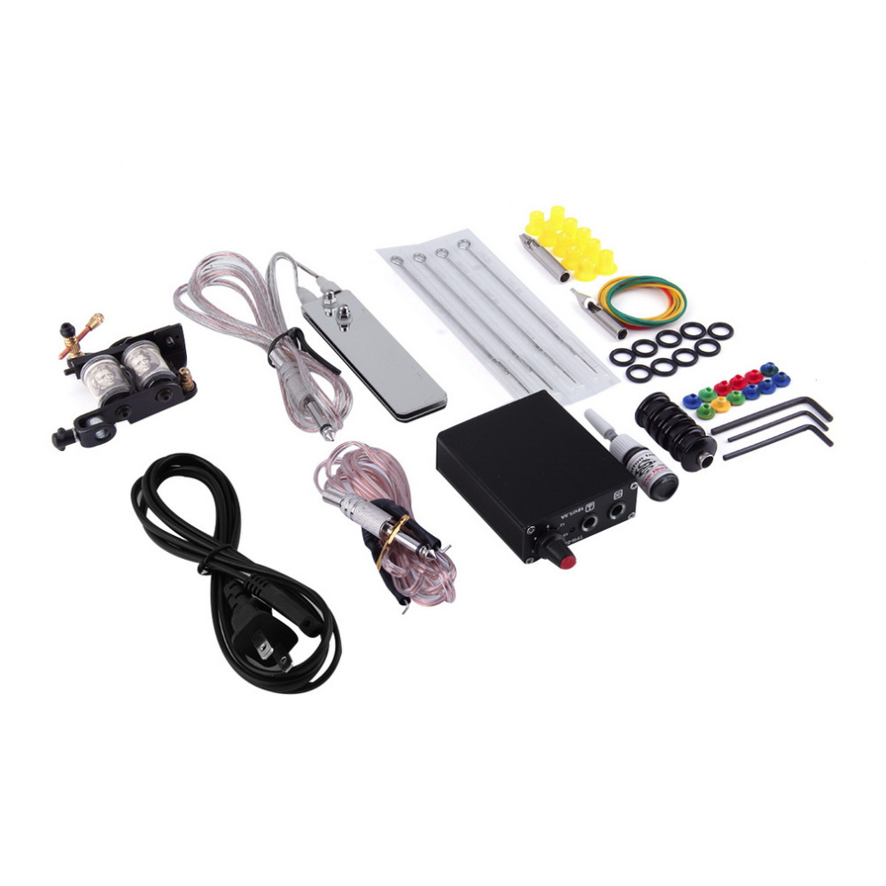 Compact Equipment Tattoo Machine Gun Inks Needles Power Supply Cord Exquisite Beginner Kit Body Beauty Tools US Plug Beauty Hot professional tattoo kit 5 guns complete machine equipment sets teaching cd ink for beginners body art beauty tools tk 2509 m