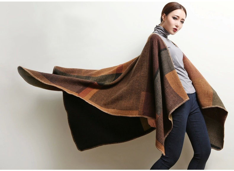 Women's Winter Poncho, Vintage Blanket, Women's Lady Knit Shawl, Cashmere Scarf Poncho 17