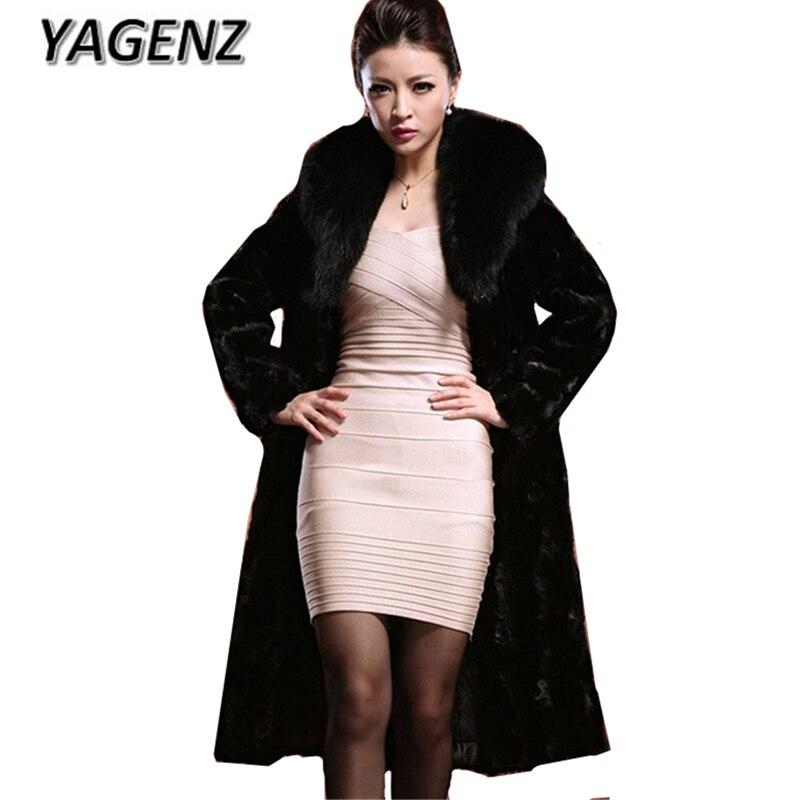2018 Large size 7XL New Winter Women Fur Coat Elegant Slim Fashion Lady Long Coats Black