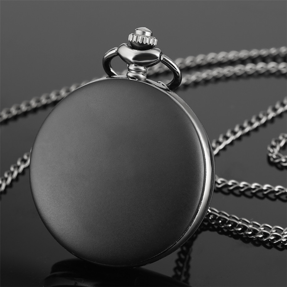 Matte Full Black Quartz Pocket Watch Classic Arabic Numerals Display Pendant Clock With Necklace/Pocket Chain Retro Clock Gifts