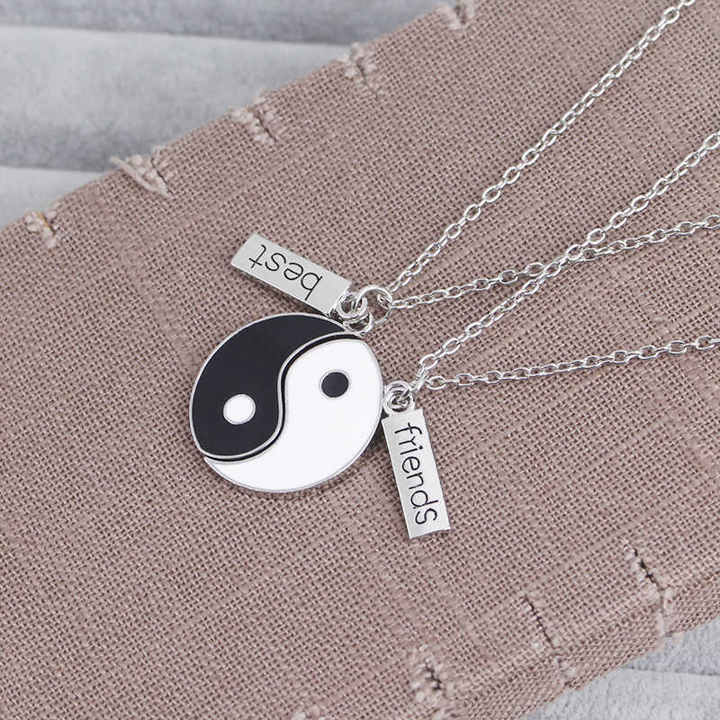 2 sztuk Best Friends naszyjnik biżuteria Yin Yang Tai Chi wisiorek pary sparowane BFF naszyjniki wisiorki prezent
