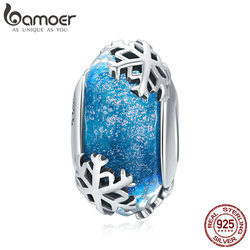 BAMOER Genuine 925 Sterling Silver Winter Snowflake Blue Murano Glass Beads Fit Charm Bracelets & Bangles DIY Jewelry SCC862