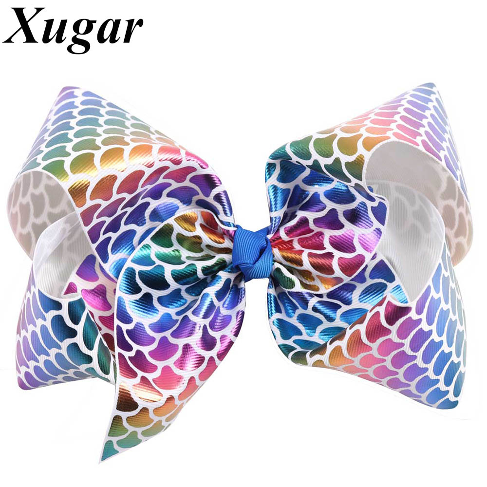 8'' Colorful Large Rainbow Fish Scales Hair Bow with Alligator Clip Pretty Girls Hair Accessories Mermaid Hairgrips ночники trousselier светильник ночник в форме куба rainbow fish
