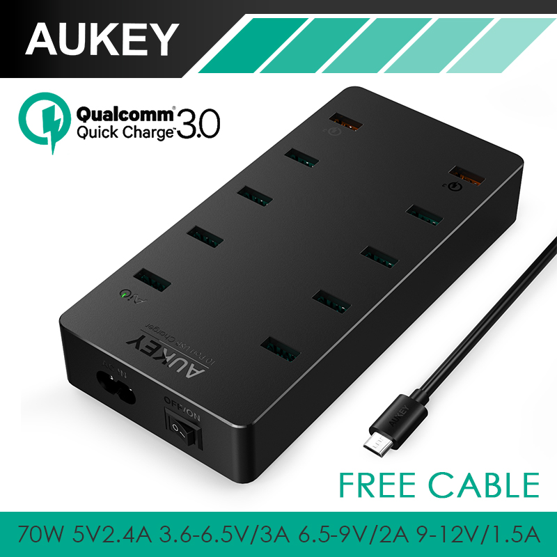 AUKEY 70W USB Charger 10 Ports Mobile Phone Charger with Quick Charge 3.0 Fast Charger for iPhone 8 X Plus 7 Xiaomi Lg g6 g5 etc