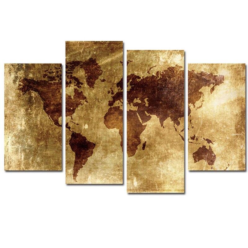 Sticker mural carte du monde photo 4 pièces bricolage diamant broderie diamant peinture point de croix pleine carré rond mozaik puzzleZP-2815