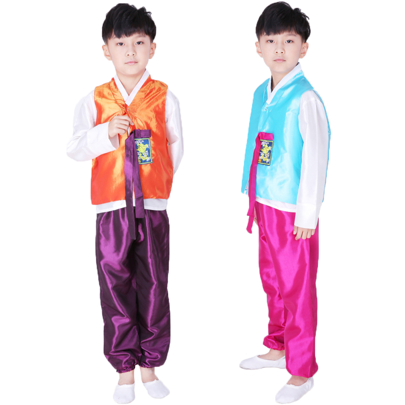 Kids Korean Hanbok Traditional Fashion Clothing Set Children Boys Performance Dance Cosplay Costumes Vests Tops+pants Party Wear