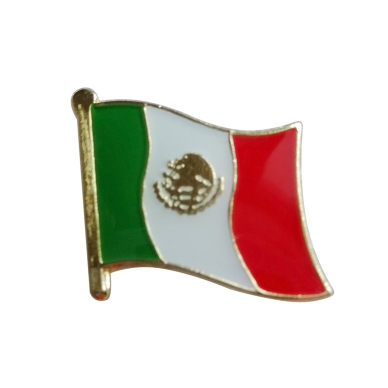Mexico country flag lapel pin badge Iron plated brass paints epoxy butterfly back button Free shipping