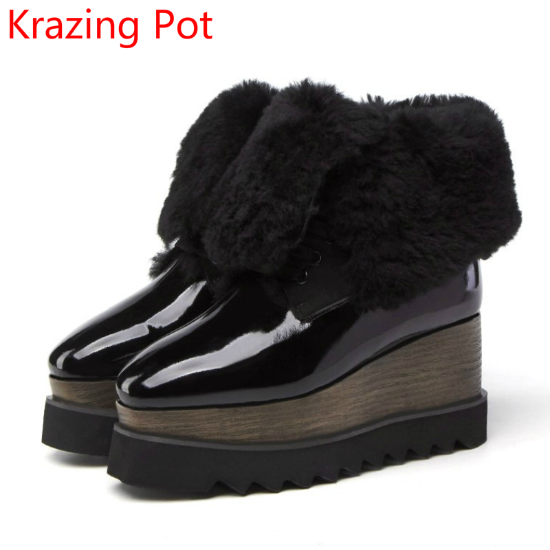 2018 Superstar Fur Wedges Flat with Keep Warm Snow Boots for Women Square Toe Increased Runway Brand Lace Up Mid-calf Boots L99