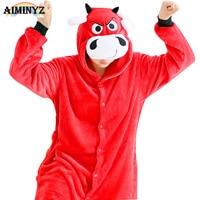Onesies For Adults In Women S Pajama Sets Animal Red Bull Sleepwear Christmas Cartoon Nightwear For