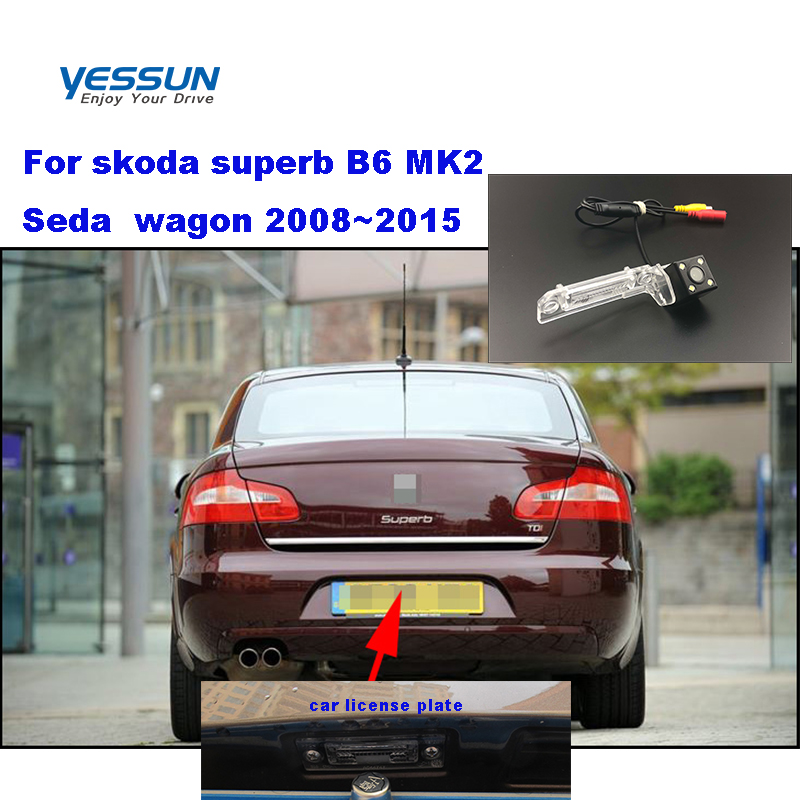 Yessun License Plate Camera  For Skoda Superb B6 MK2 Seda  Wagon 2008~2015  Car Rear View Camera Parking Assistance