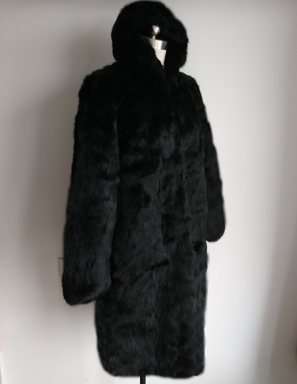 Pour 100 Long Complet Pelt Femmes Fourrure X Lapin Réel Capuchon Usine Sr84 Avec Gros Manteau Naturel Oem Prix De x7xp1