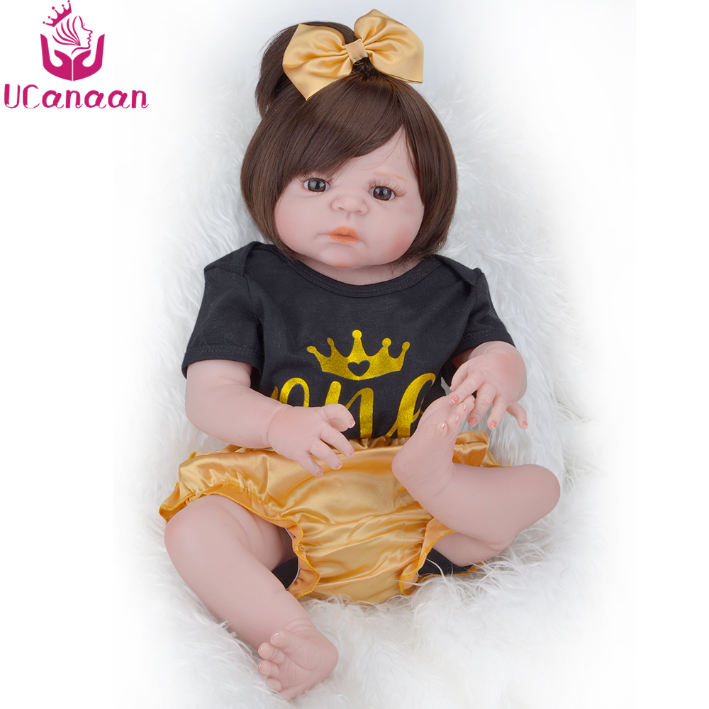 UCanaan 55CM Silicone Dolls Reborn Long Hair Brown Eyes Baby Alive Doll Girl Boneca Reborn Silicone Completa Baby Kids Toys ucanaan 55cm hair rooted cloth body reborn doll soft silicone brown eyes toys for girls baby alive new born kawaii kids toys