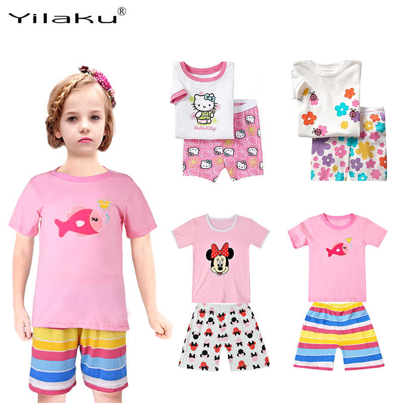 06764c580 Yilaku Girls Pyjamas Set Minnie Hello Kitty Clothing Sets Kids Summer girl  pajamas Cartoon T-