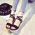 Zapatos cuesta con sandalias de tacón alto de las mujeres en verano losas estudiantes sandalias freático gruesa negro palabra negro XL13
