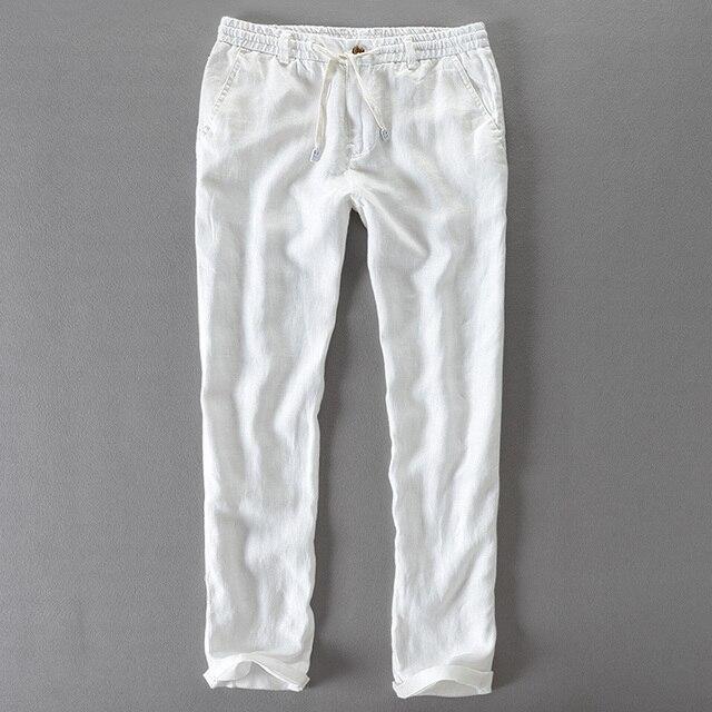 cd4a0d08d591 Итальянские брендовые длинные штаны мужские льняные повседневные льняные  мужские брюки японский стиль Штаны Mens Solid большой