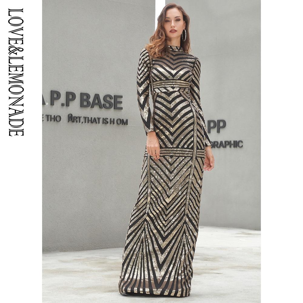 Liebe & Limonade Gold Stehkragen Slim Fit Elastische Geometrische Pailletten Lange Kleid LM81212-in Kleider aus Damenbekleidung bei  Gruppe 2