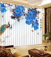 Classic Home Decor Fashion Customized 3D Curtains Color Ink Blue Peony Flower Peacock Bed Living Room Hotel Curtains For Bedroom