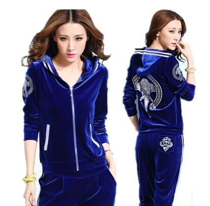 af88a9937 Hot Selling 2015 gold velvet sports set Velour Tracksuit For Women Designer  Jogging Sweatshirts Velvet Track Suit Girl M-XXXL