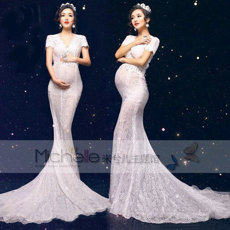 Pregnant Photography Props Photo Shoot Beautiful White Lace Maternity  Trailing Mermaid Dress Studio Fancy Elegant Baby