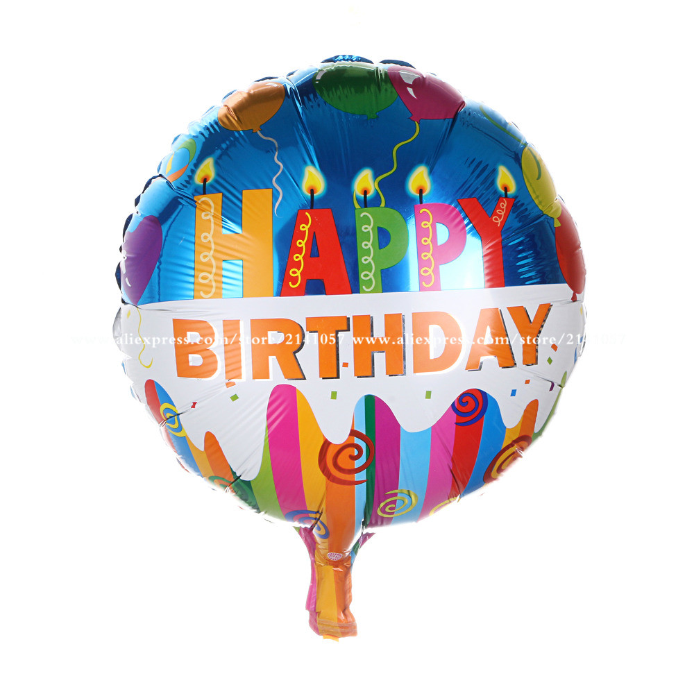 50pcs/lot wholesale 18inch round shape happy birthday balloon for party decoration helium balloon mylar foil ballon