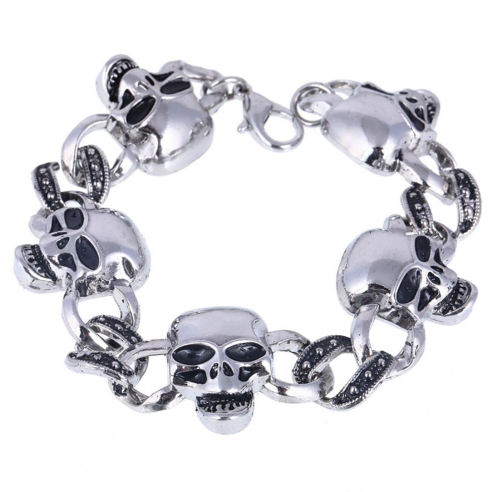 Men's Stainless Steel High Quality Biker Skull Charm Bracelet