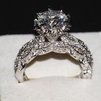 Victoria Wieck Luxury Jewelry Diamonique 925 Sterling Silver Wedding Topaz CZ Diamond Women Bridal Women Ring