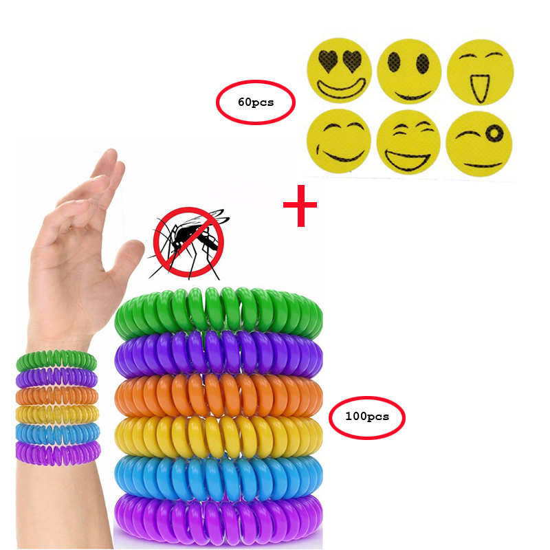 100pcs Mosquito Repellent Bracelets With 60Pcs Smiley Anti Mosquito Stickers Mosquito Killer Outdoor Insect Bracelet Wrist Band