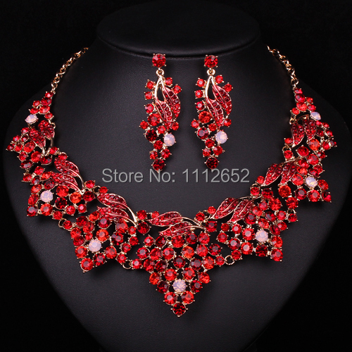 Fashion Red Rhinestone Bridal Jewelry Sets Necklace earrings Gold