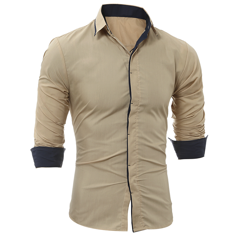 MenS Shirts 2018 Long-Sleeved Casual Hit Color Chemise Homme Solid Arrival Dress Lapel MenS Shirts Large Size XXXL