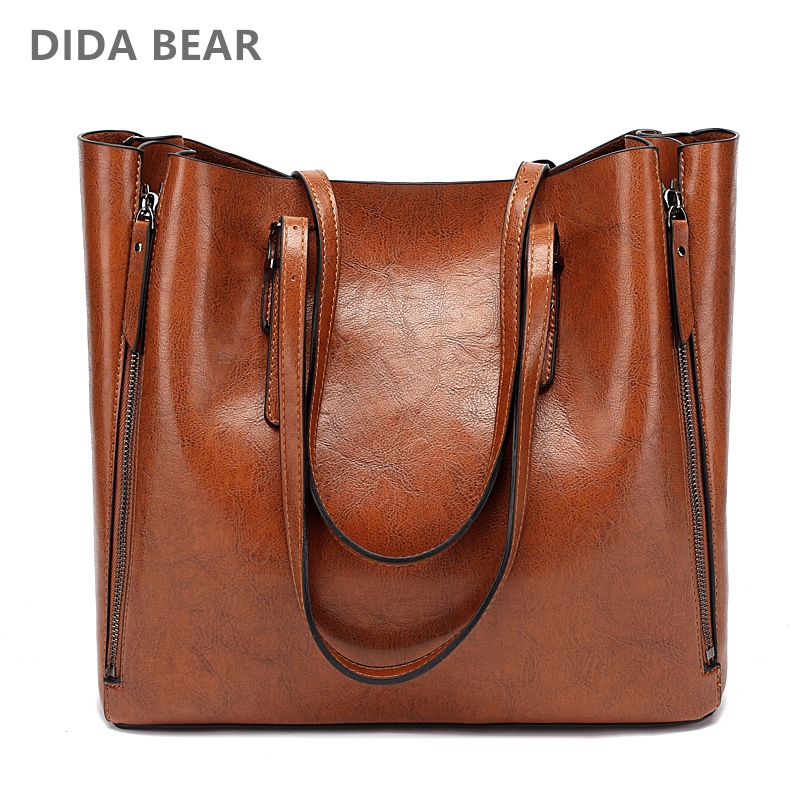 DIDA BEAR New Fashion Luxury Handbag Women Large Tote Bag Female Bucket Shoulder Bags Lady Leather Messenger Bag Shopping Bag large size 47cm women bag shopping sheepskin real leather female handbag tote satchel lady bolsa feminina women messenger bags